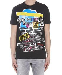 Black pure cotton graphic print T-shirt