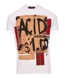 White pure cotton graphic T-shirt