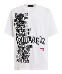 White pure cotton graphic logo T-shirt