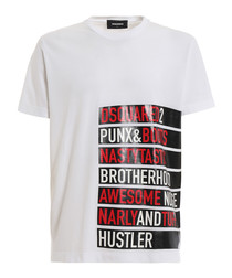 White pure cotton graphic word T-shirt