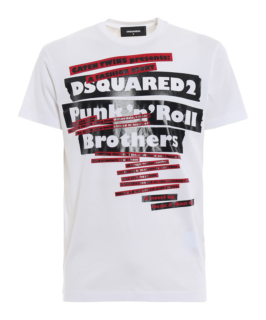 White pure cotton graphic punk T-shirt Sale - dsquared2