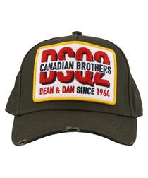 Khaki pure cotton embroidered hat