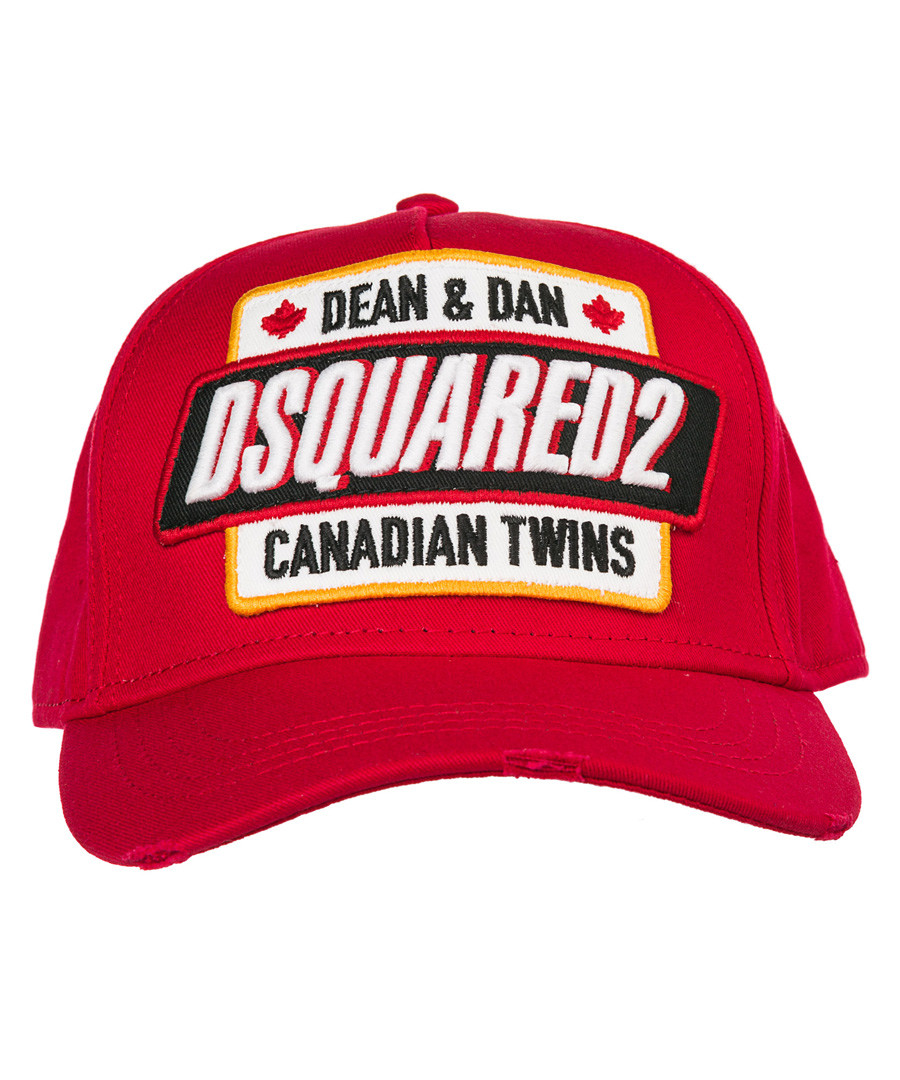 Red pure cotton print hat Sale - dsquared2
