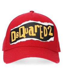 Red pure cotton print logo hat