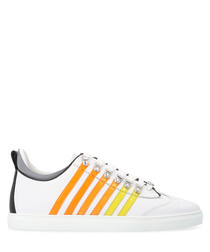 White & yellow leather sneakers