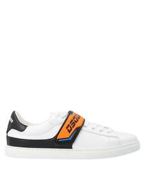 White & orange leather sneakers