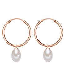 Rose gold-plated pearl hoop earrings