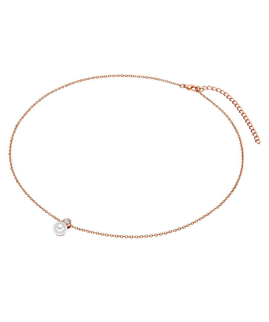 Rose gold-plated pearl necklace Sale - yamato pearls