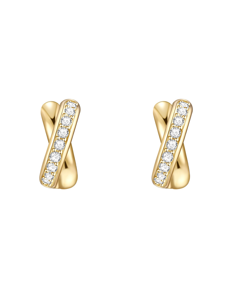 Yellow gold-plated cross earrings Sale - lindenhoff