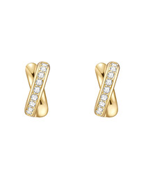 Yellow gold-plated cross earrings