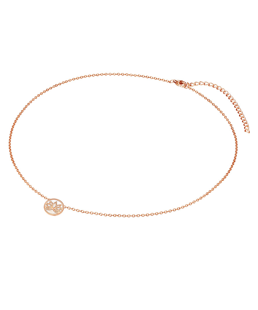 rose gold-plated lotus necklace Sale - lindenhoff