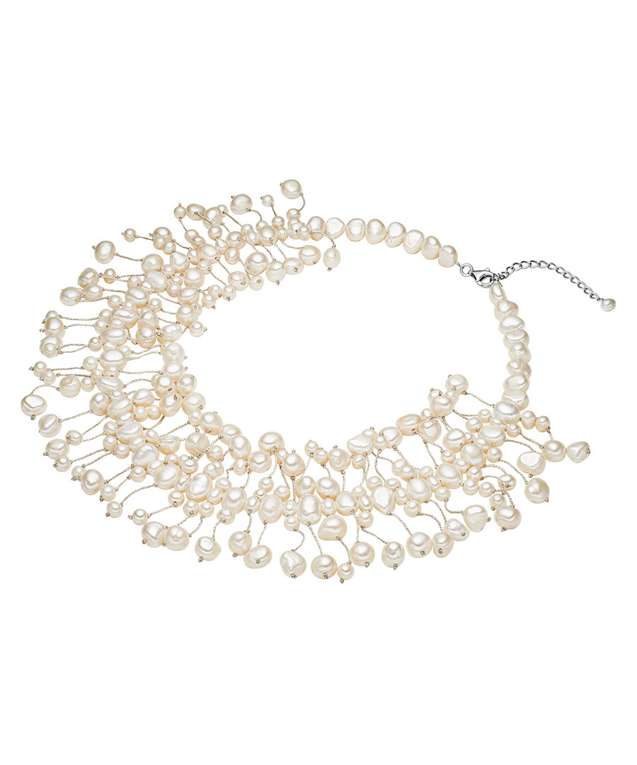 Rhodium-plated pearl silk necklace Sale - yamato pearls