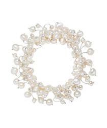 White pearl silk bracelet