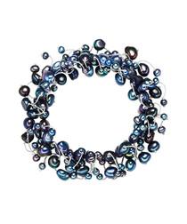 Blue pearl silk bracelet