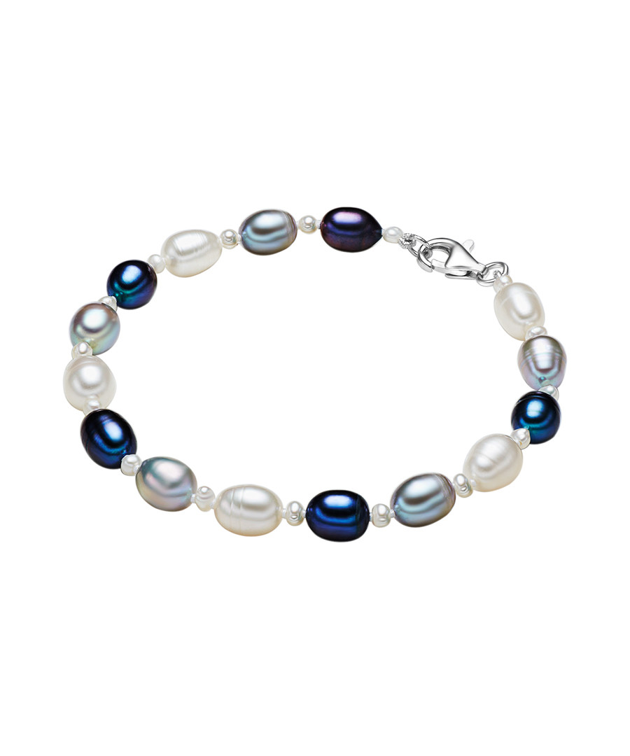 Rhodium-plated pearl silk bracelet Sale - yamato pearls