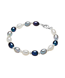 Rhodium-plated pearl silk bracelet