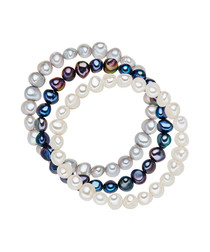 3pc White & blue pearl bracelet set