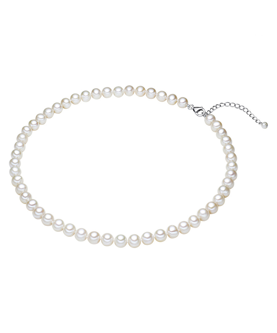 Rhodium-plated pearl silk necklace 42cm Sale - yamato pearls