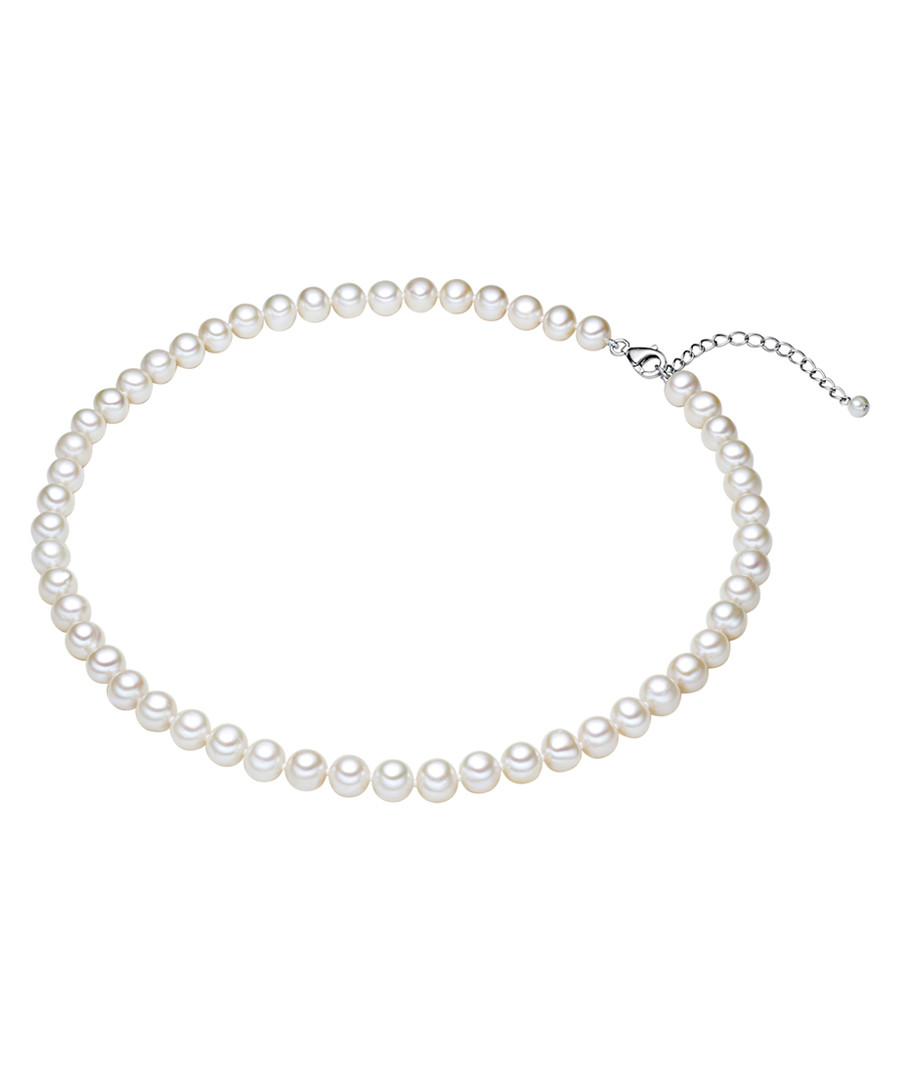 Rhodium-plated pearl silk necklace 50cm Sale - yamato pearls