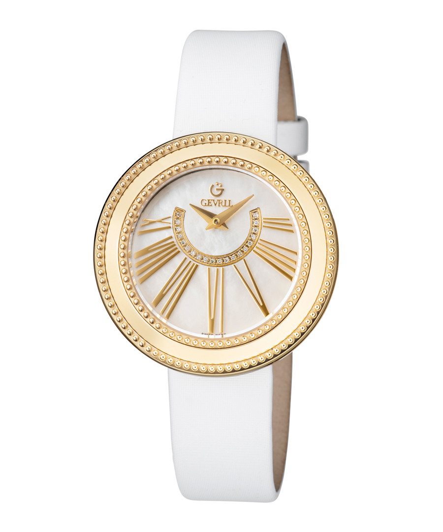 White leather mother-of-pearl watch Sale - gevril