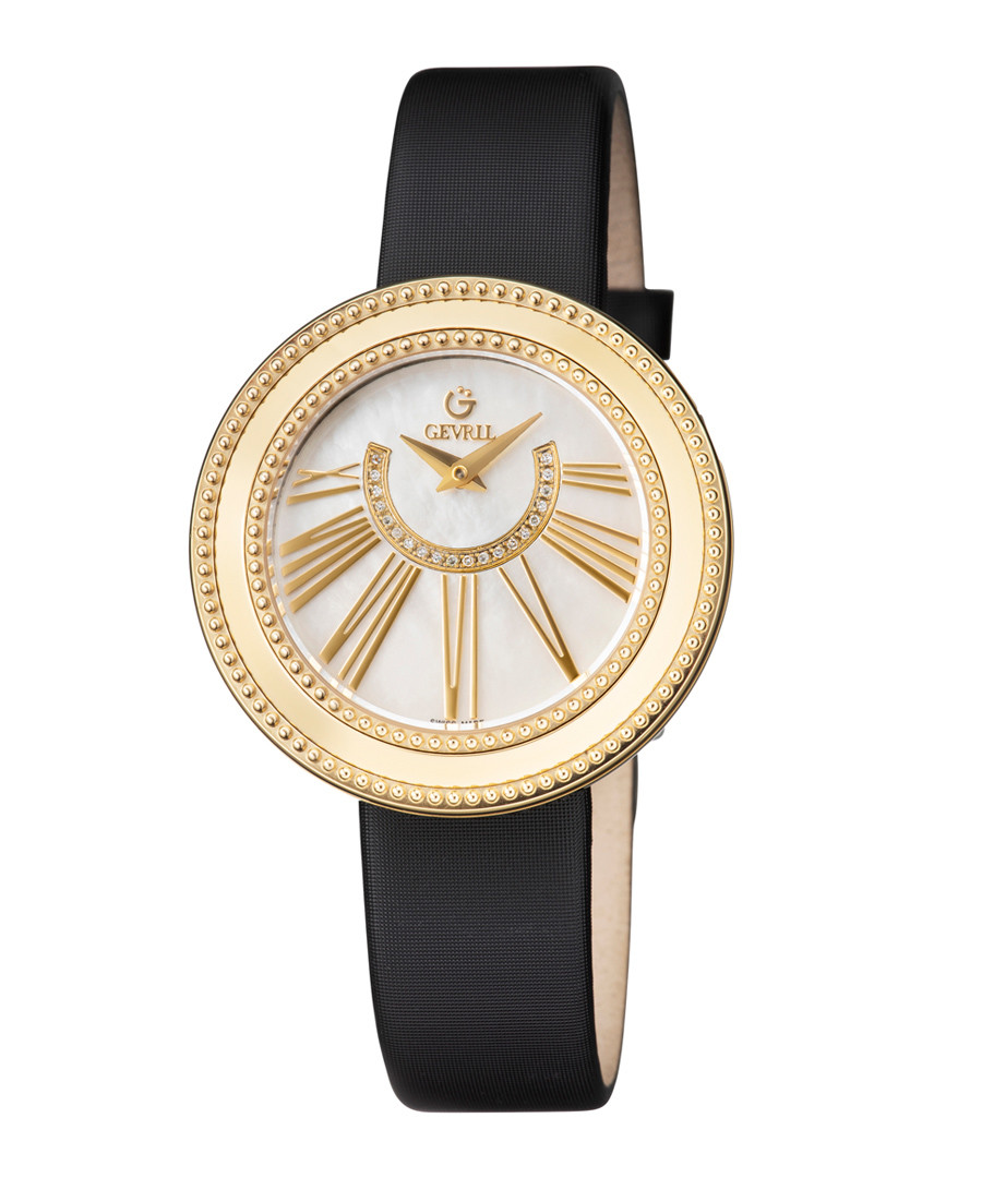 Black leather mother-of-pearl watch Sale - gevril