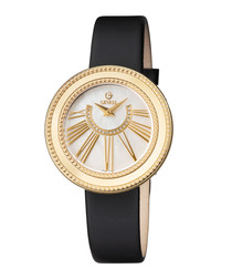 Black leather mother-of-pearl watch