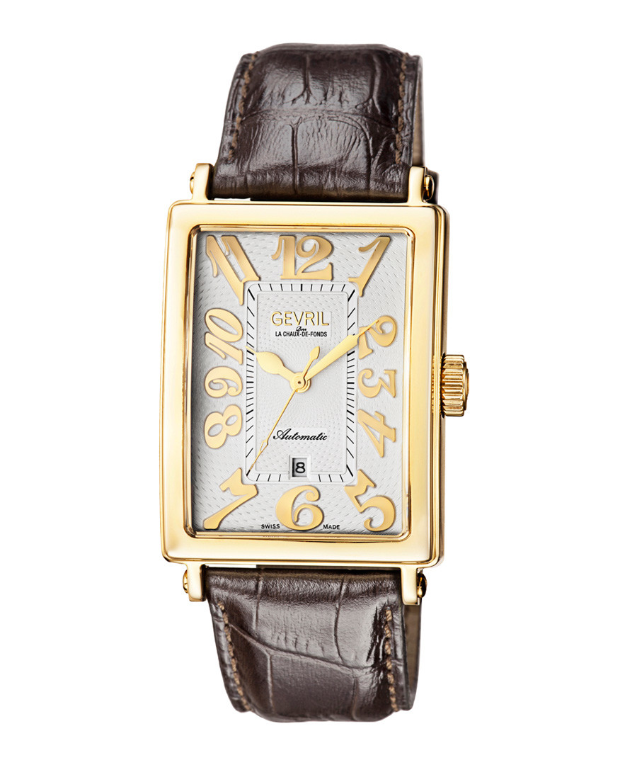 Gold-tone & brown leather watch Sale - gevril