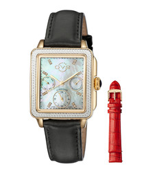 Gold-tone black leather changeable watch