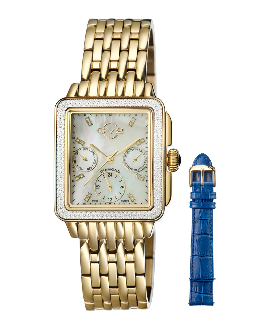 Gold-tone & blue interchangeable watch Sale - GV2