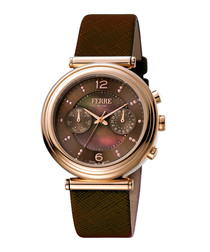 Rose gold-tone & brown leather watch