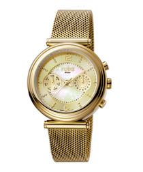 Gold-tone steel watch