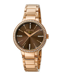 Rose gold-tone & brown steel watch