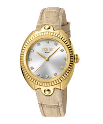 Gold-tone & ivory leather crystal watch