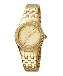 Gold-tone steel crystal watch
