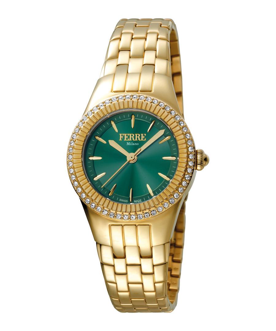 Gold-tone & green steel watch Sale - ferre milano