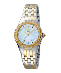 Two-tone & blue steel crystal watch