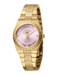 Gold-tone & pink steel watch