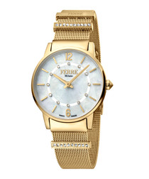 Gold-tone & blue steel watch