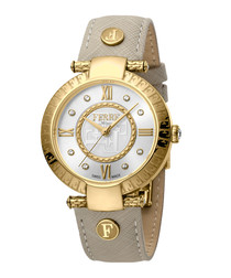 Gold-tone & ivory leather watch