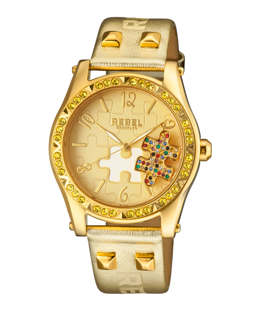 Gold-tone leather puzzle watch Sale - rebel