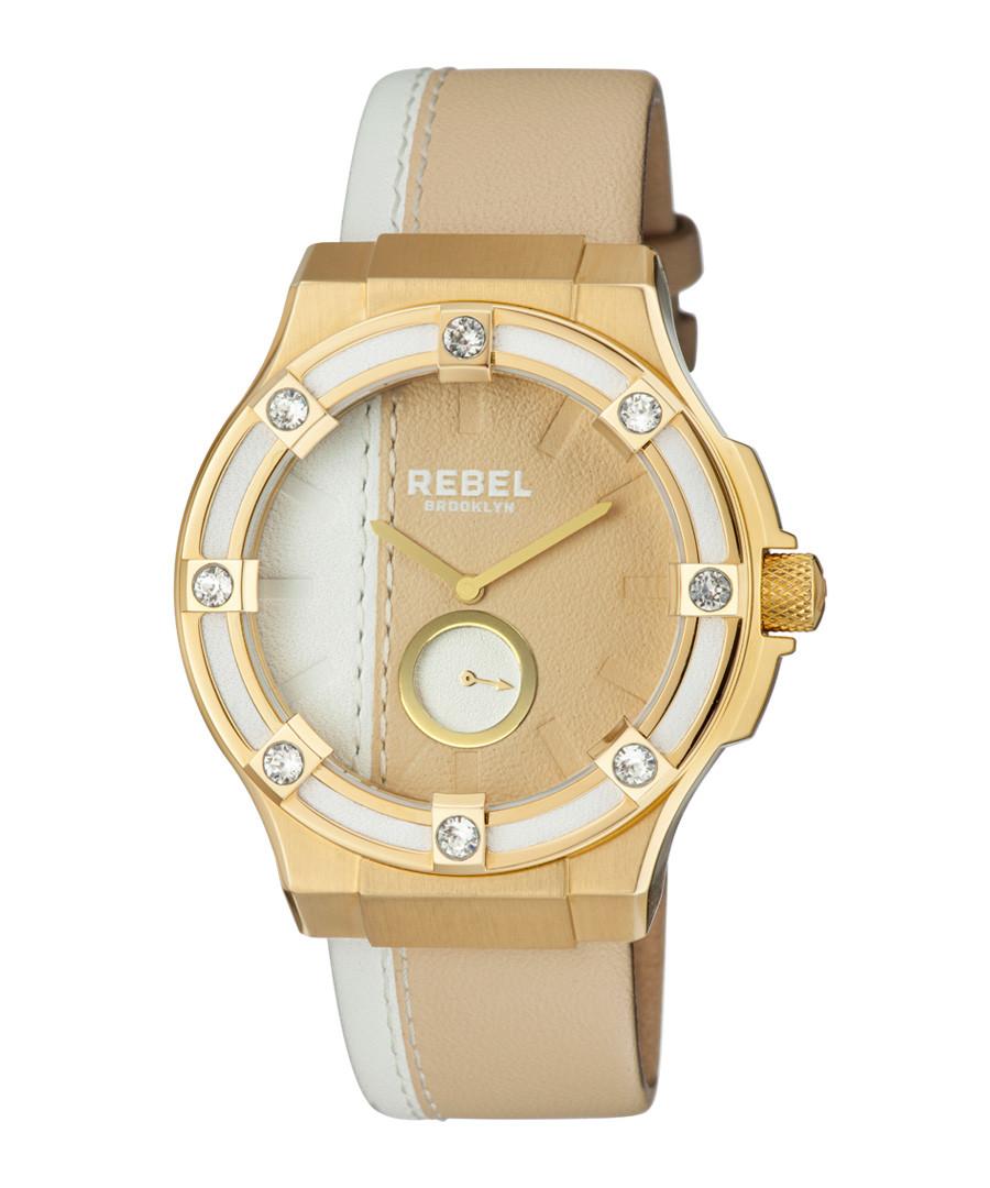 Gold-tone cream & white leather watch Sale - rebel