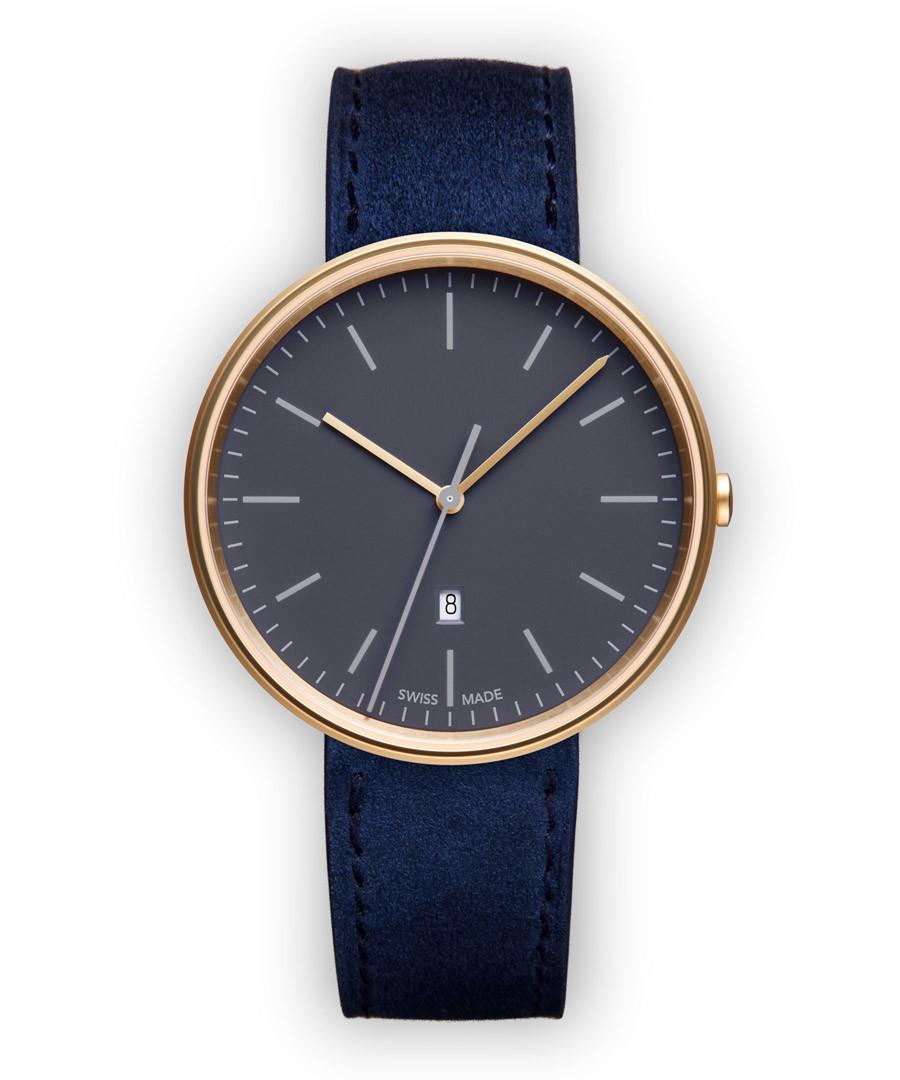 Blue & gold-tone suede watch Sale - Uniform Wares
