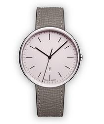 Silver-tone & grey leather watch