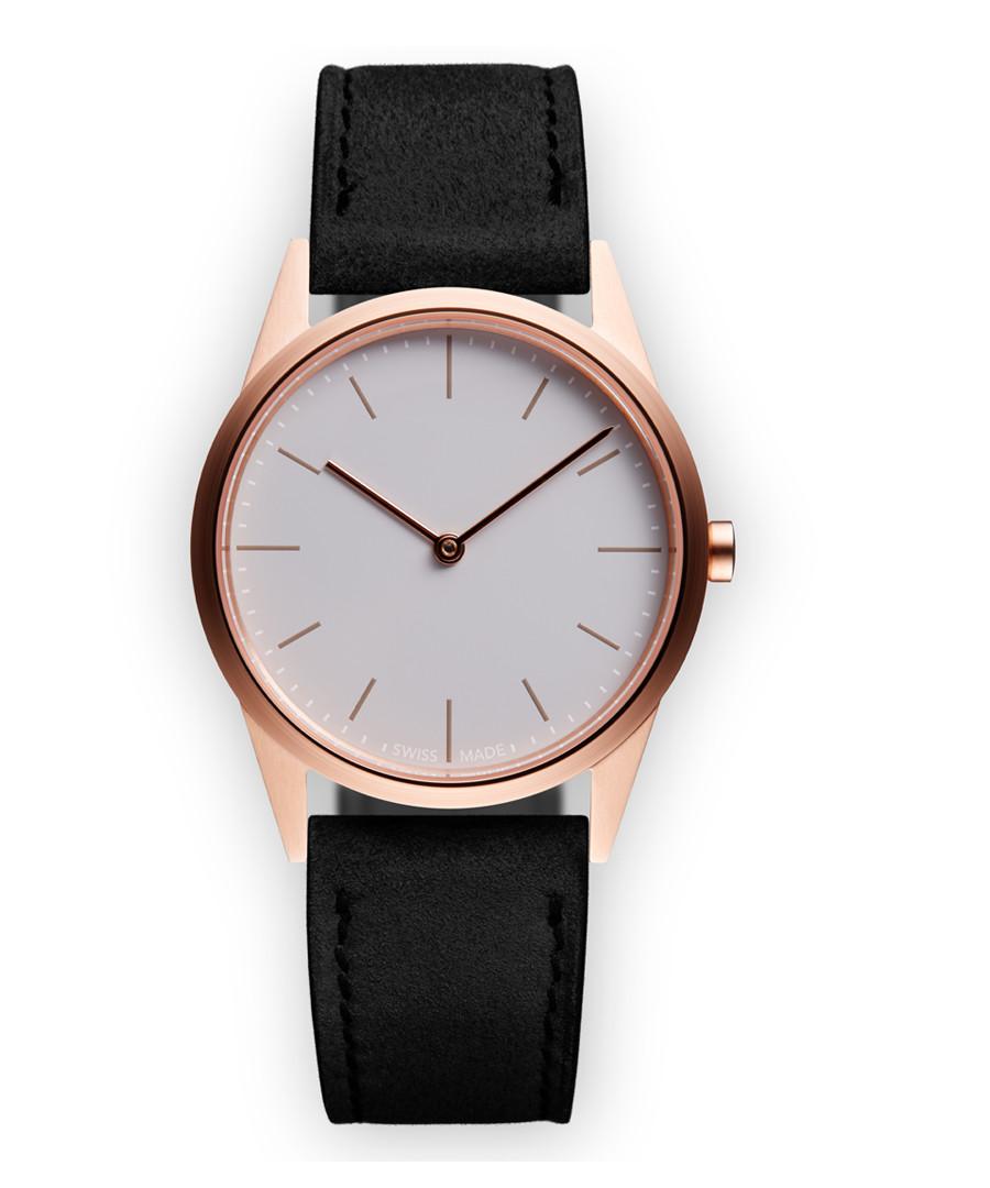 Rose gold-tone & black suede watch Sale - Uniform Wares
