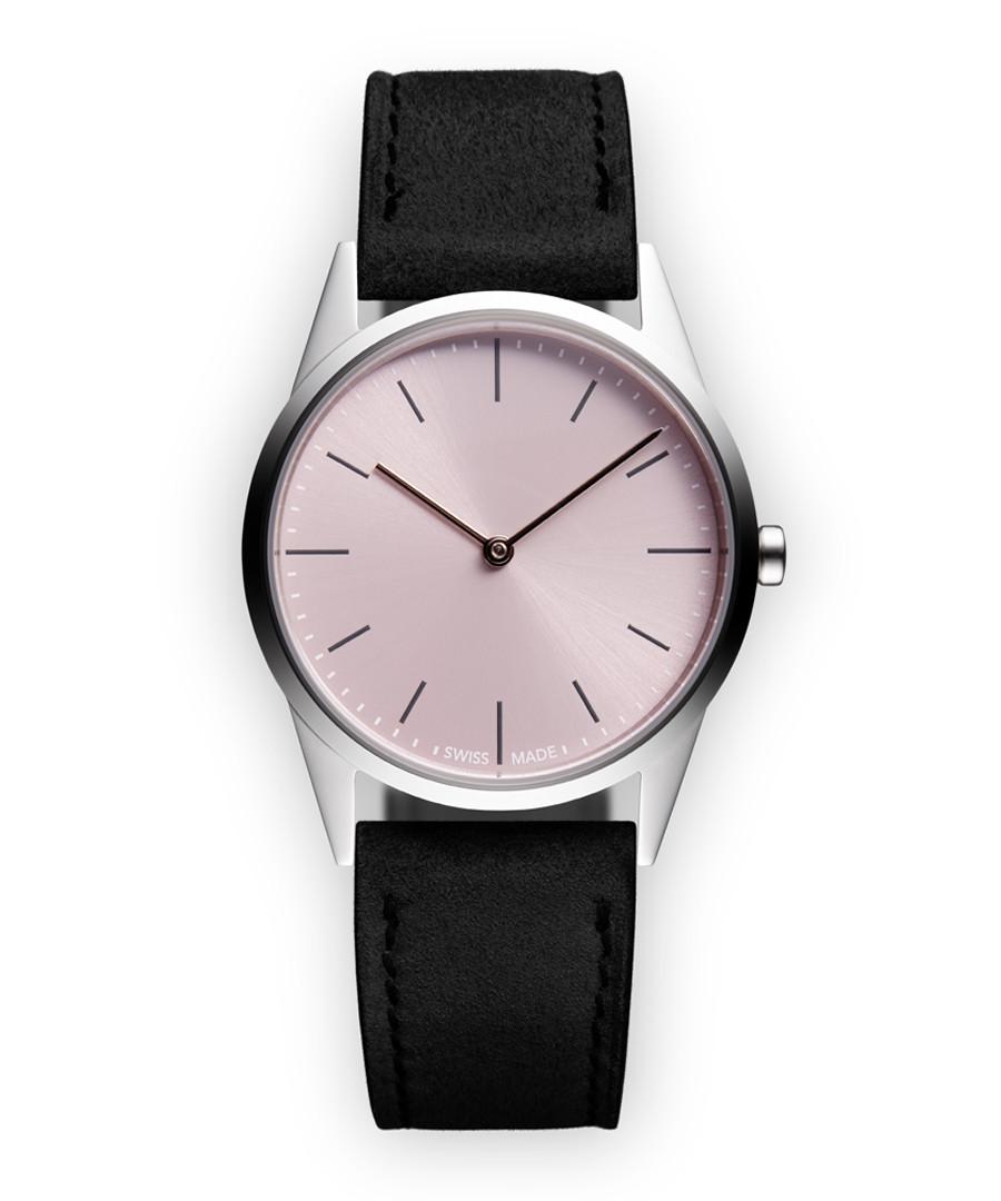 Silver-tone & black suede watch Sale - Uniform Wares
