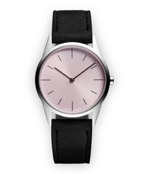 Silver-tone & black suede watch