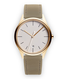Gold-tone & mist nappa leather watch
