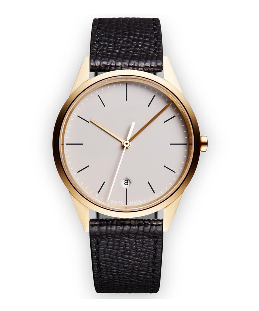 Gold-tone & black grain leather watch Sale - Uniform Wares