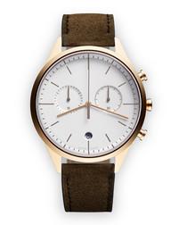Acorn & gold-tone suede watch