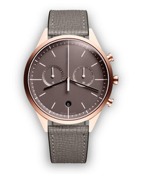 Rose gold-tone & grey leather watch
